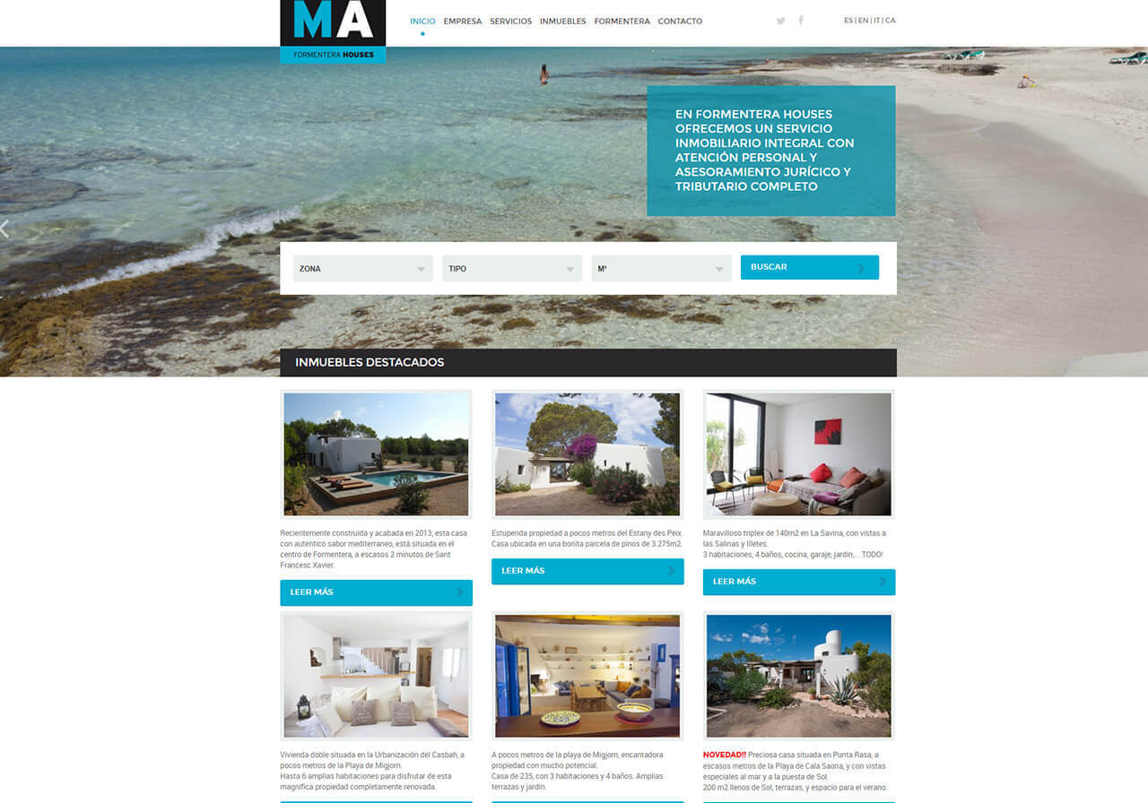Marketing online y diseño web para Ma Formentera Houses