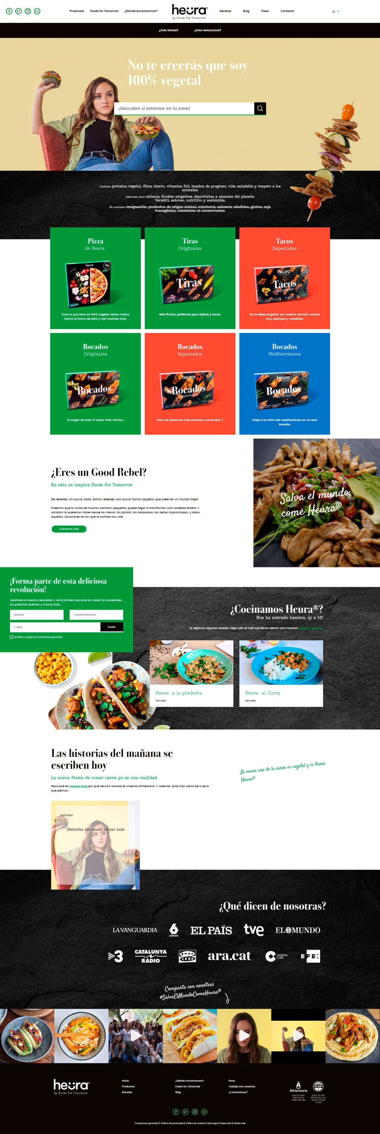 Pagina web para Heura by Foods For Tomorrow