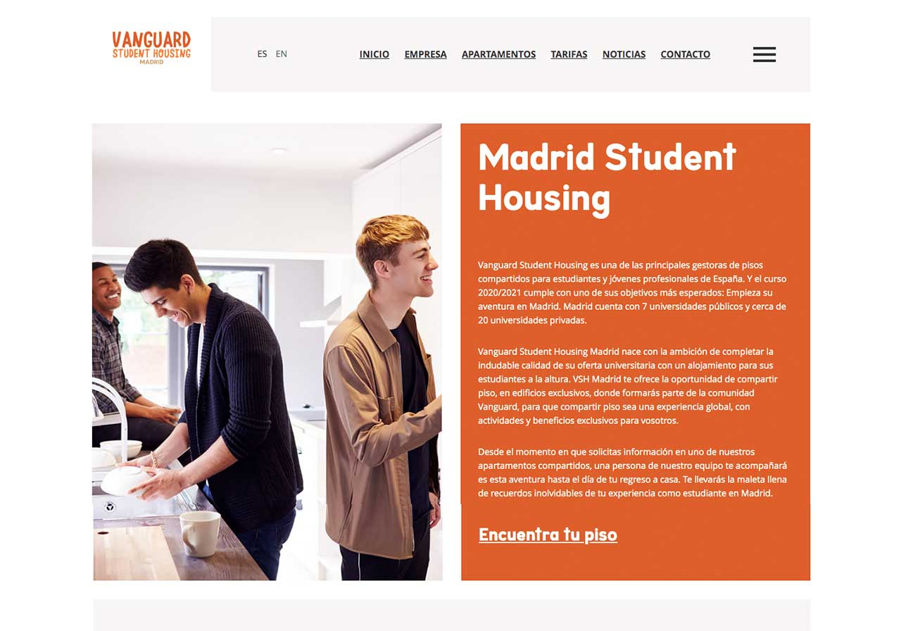 Web Disseny Madrid Student Housing