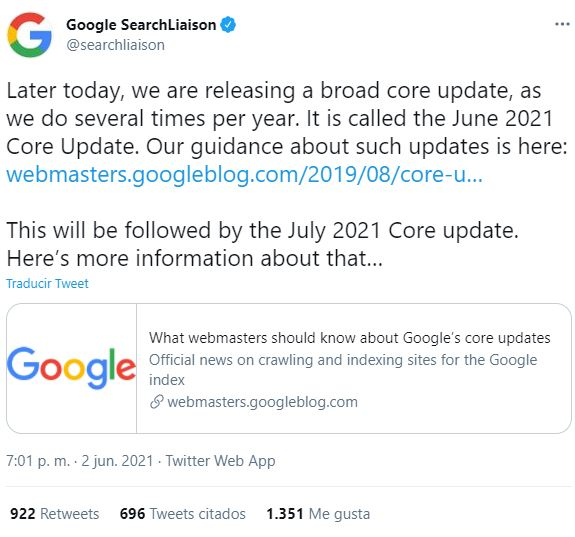 google core update junio 2021