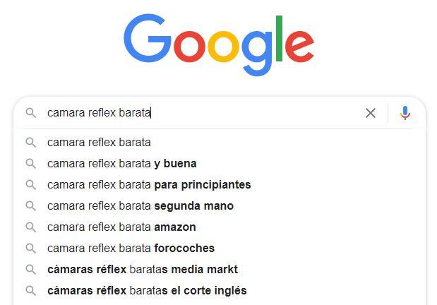 búsqueda palabras clave Google