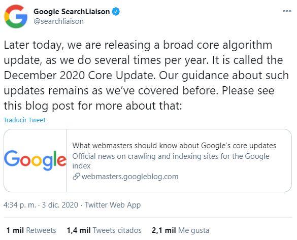 cambios core update diciembre 2020