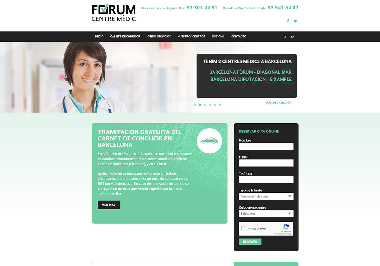 Marketing online and web design Centre Mèdic Fòrum