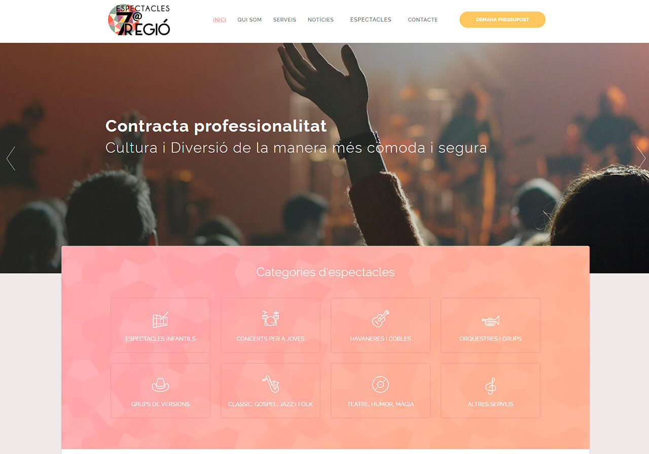 Web design for a band management company