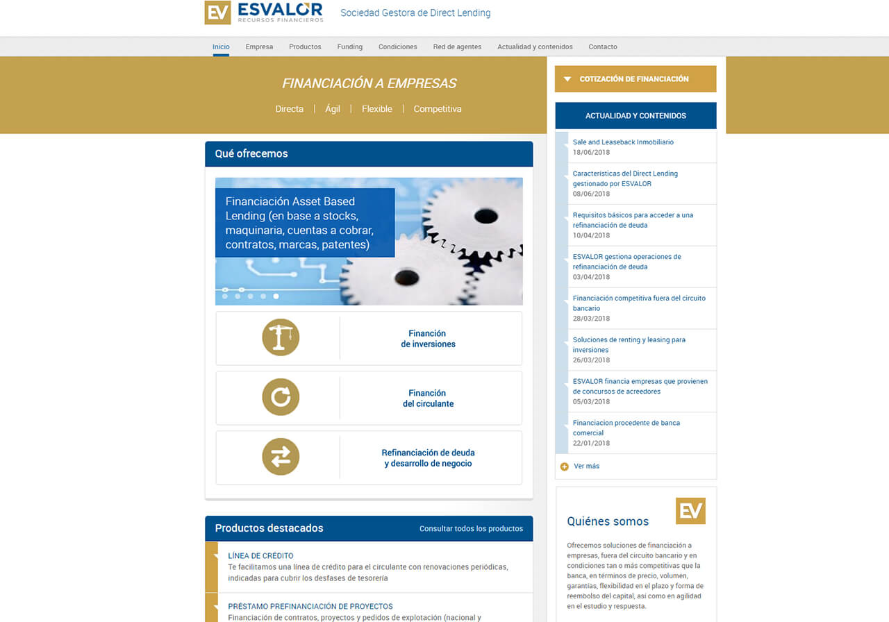 ESVALOR, a new web design
