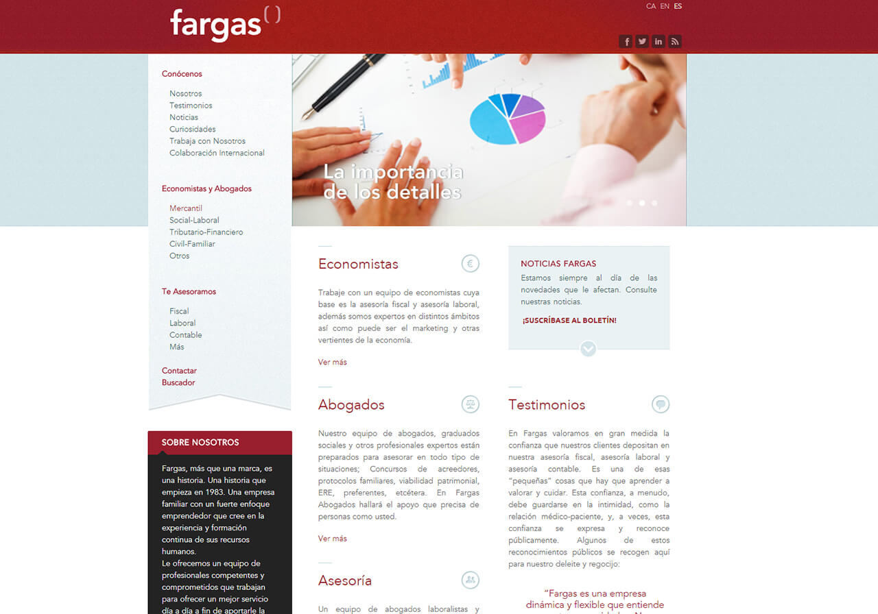 Web design and online marketing for Fargas