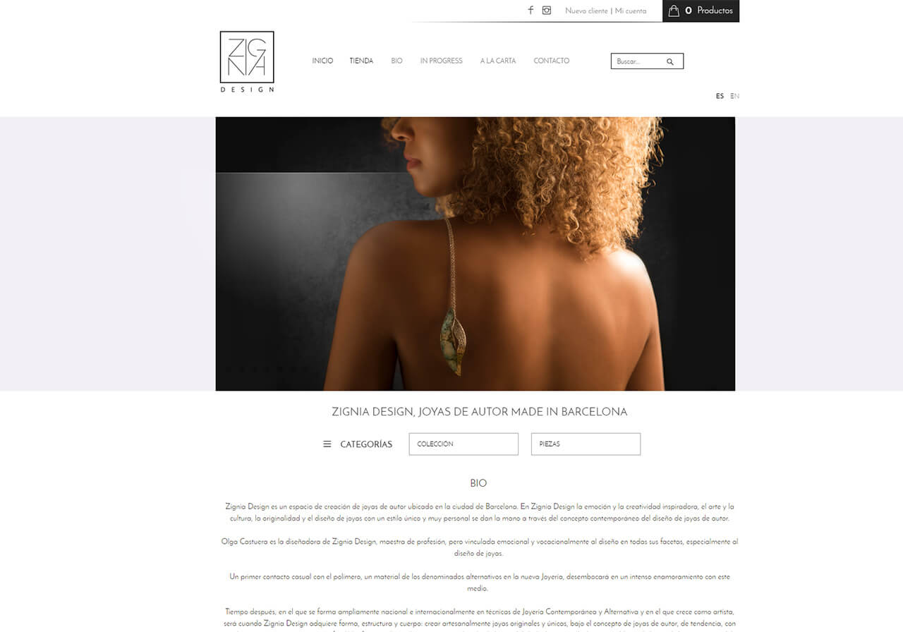 Web design for custom jewelry store in Barcelona