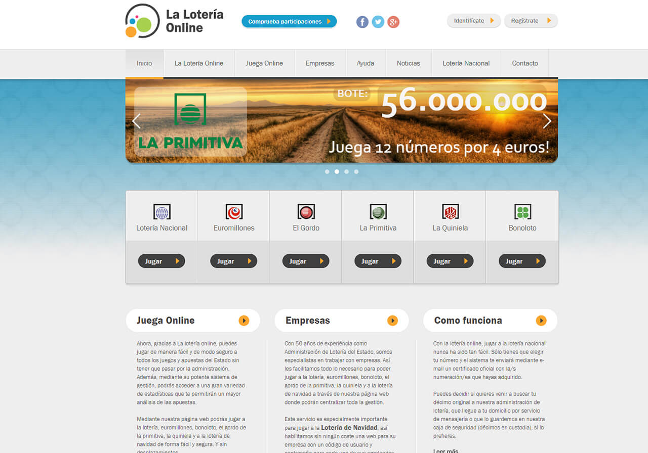 Web design for Lottery Online