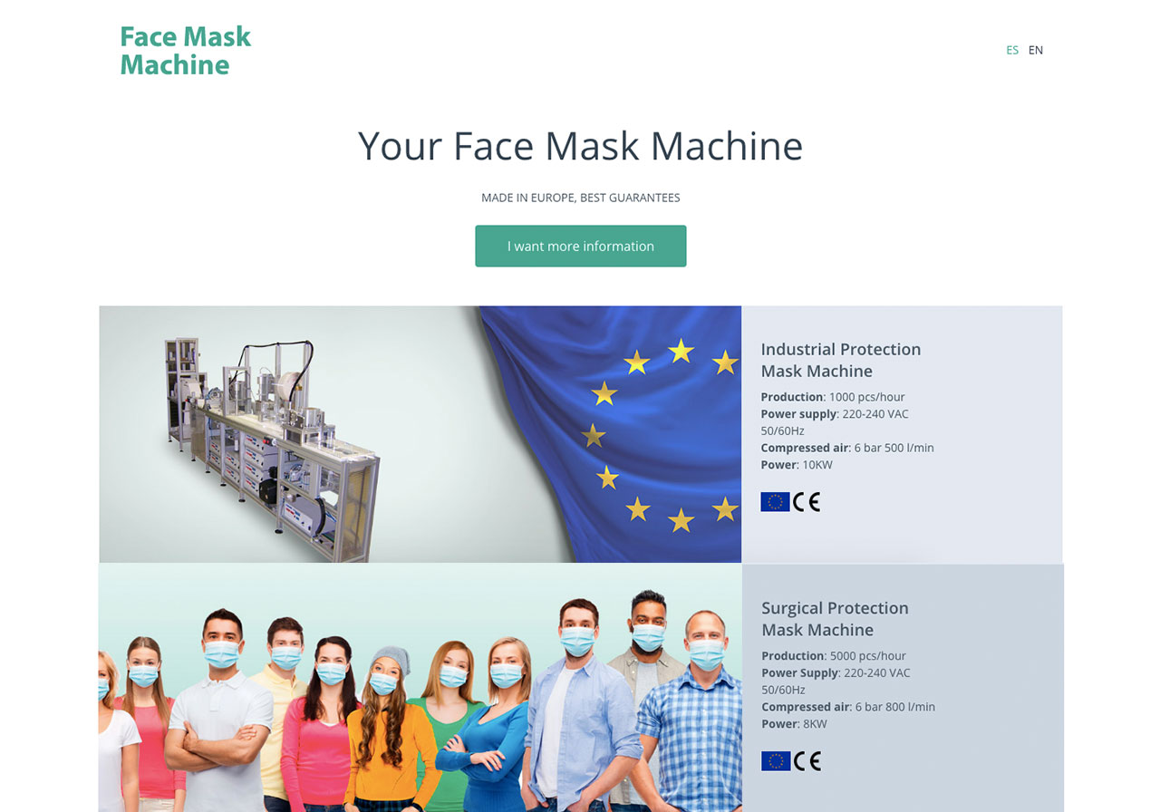 Landing Page Mask Machine