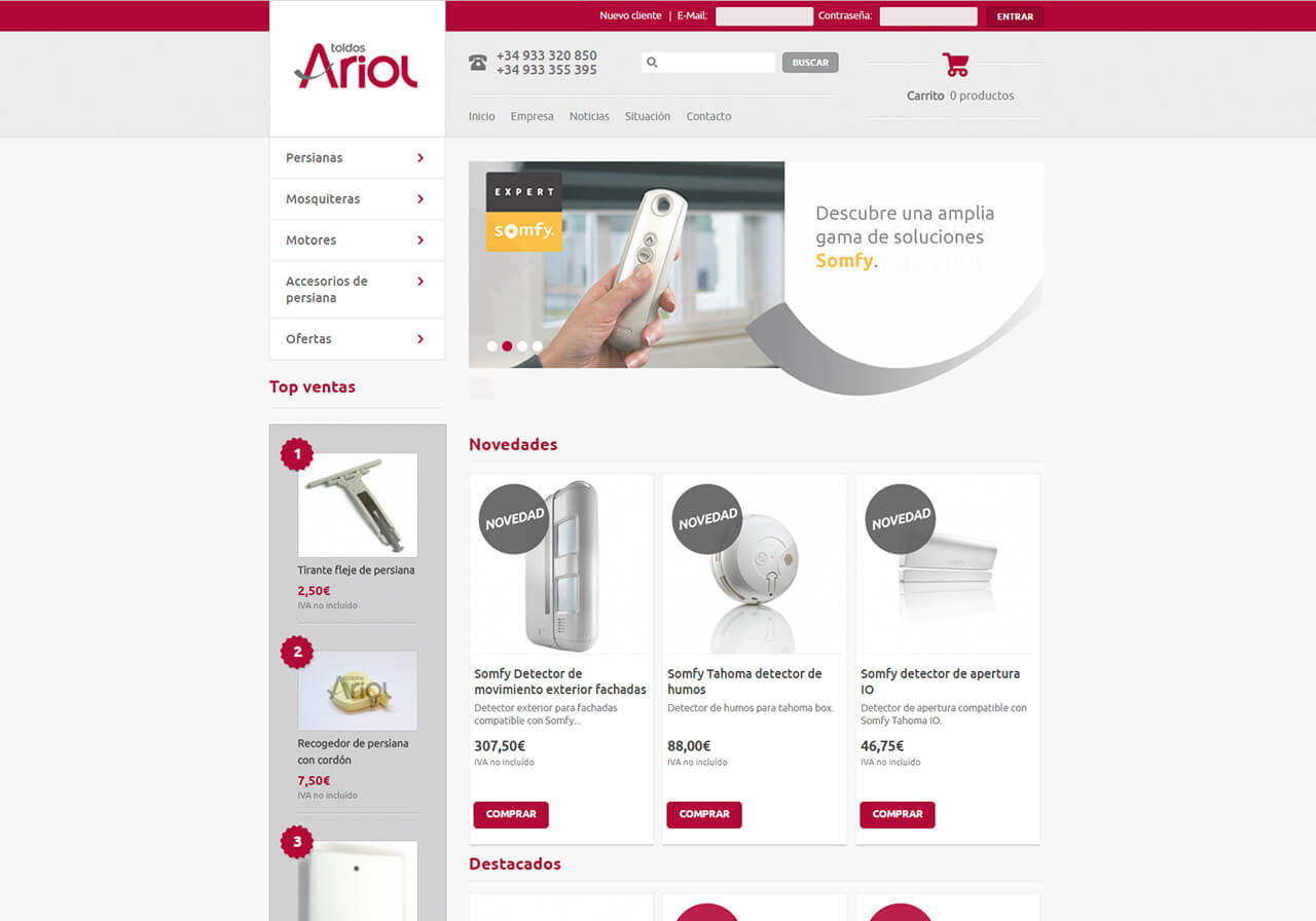Ecommerce design for Persianas Ariol